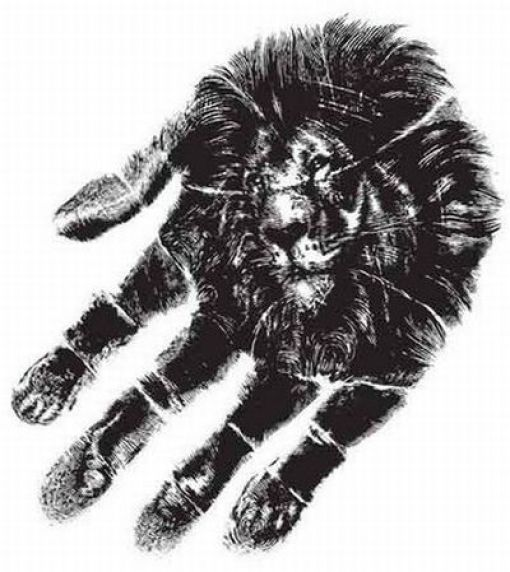 optical illusions illusion cool scary hand very lion print drawn